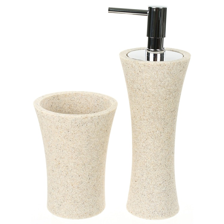 Bathroom Accessory Set, Gedy AU500-03, Natural Sand Soap Dispenser and Toothbrush Holder Accessory Set