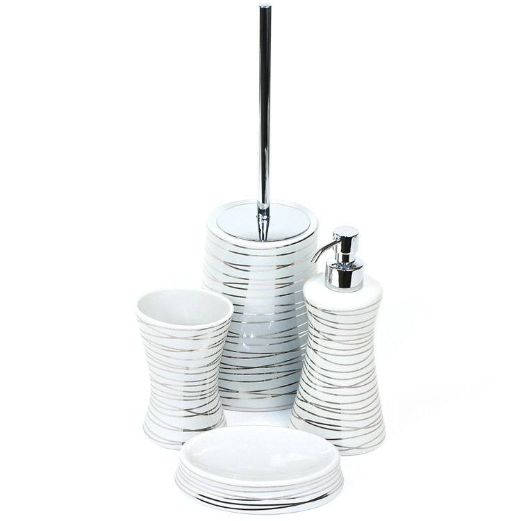 Bathroom Accessory Set, Gedy DV100-73, Diva Grey Silver Decorative Bathroom Accessory Set