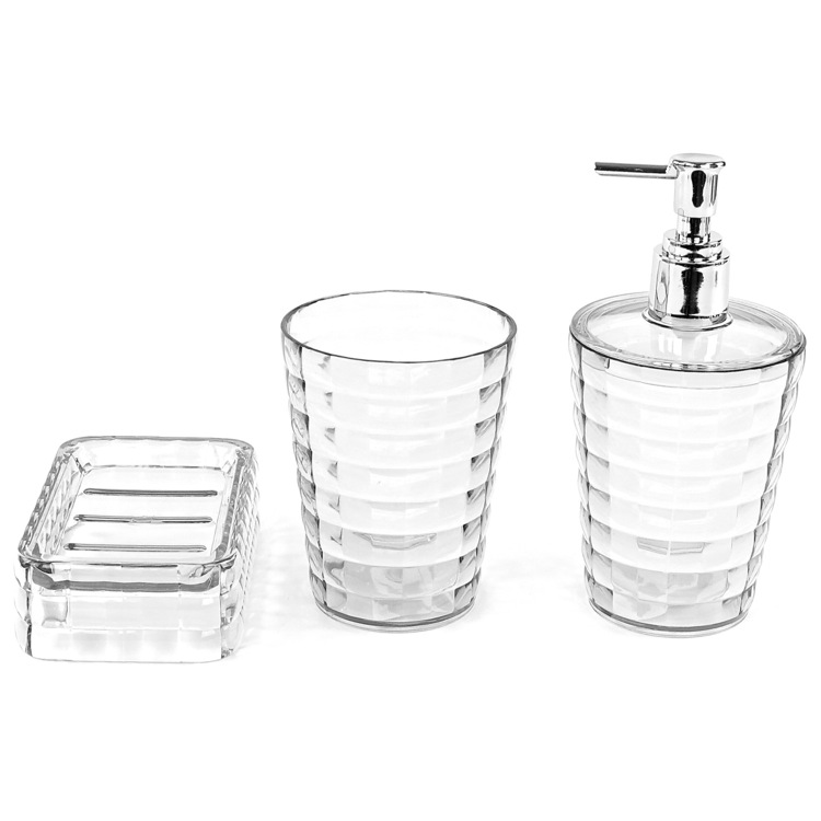 Bathroom Accessory Set, Gedy GL200-00, 3 Piece Transparent Accessory Set