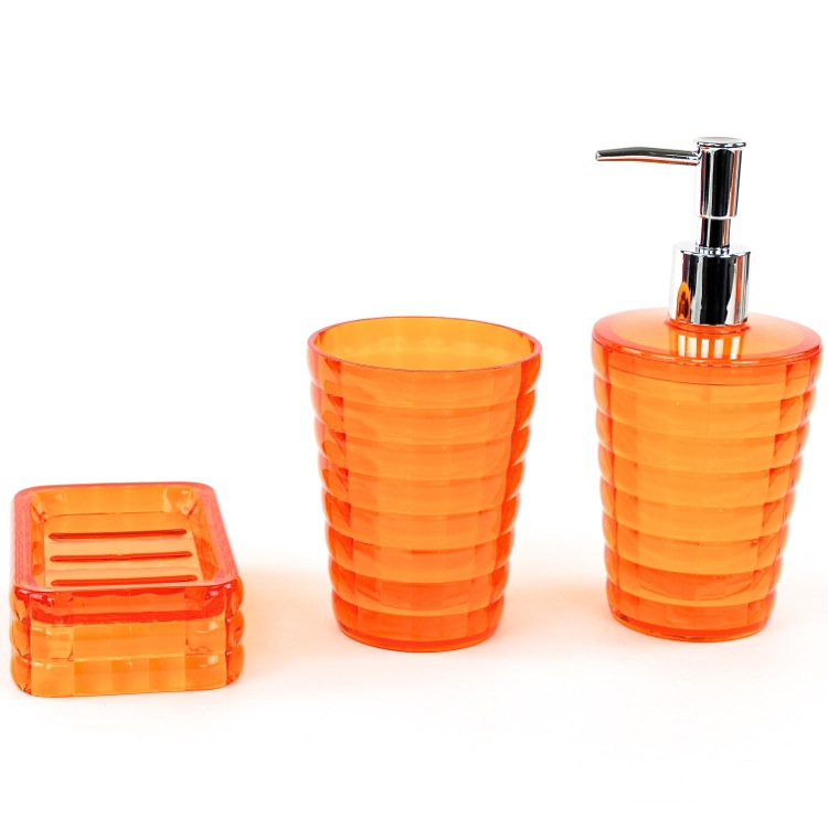 Bathroom Accessory Set, Gedy GL200-67, Orange 3 Piece Accessory Set in Thermoplastic Resins GL200-67