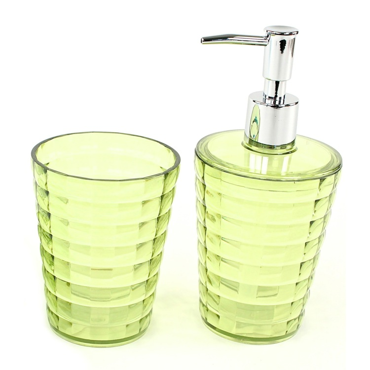 Bathroom Accessory Set, Gedy GL500-04, Green Toothbrush Holder and Soap Dispenser Accessory Set