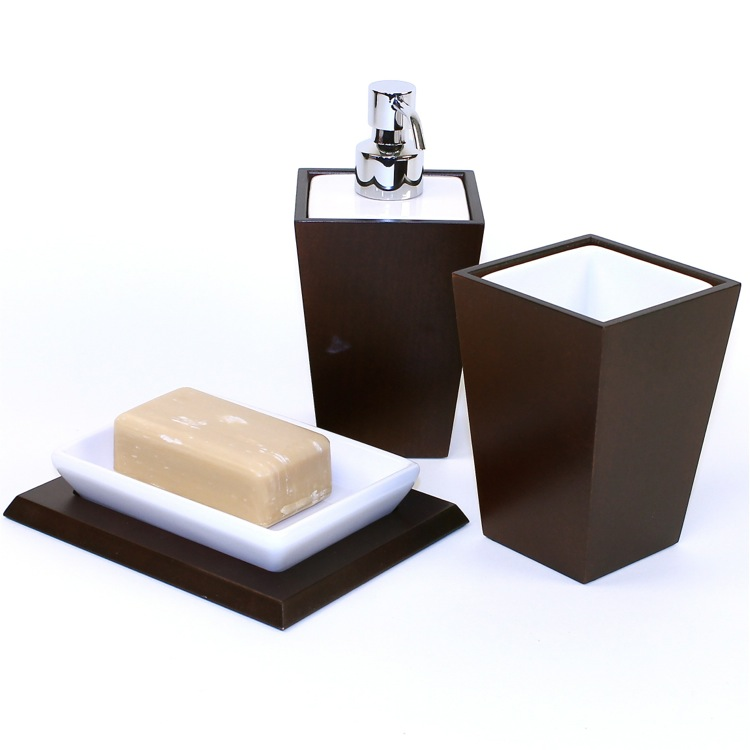 Bathroom Accessory Set, Gedy KY200-31, Kyoto Tanganika Wood and Pottery Accessory Set