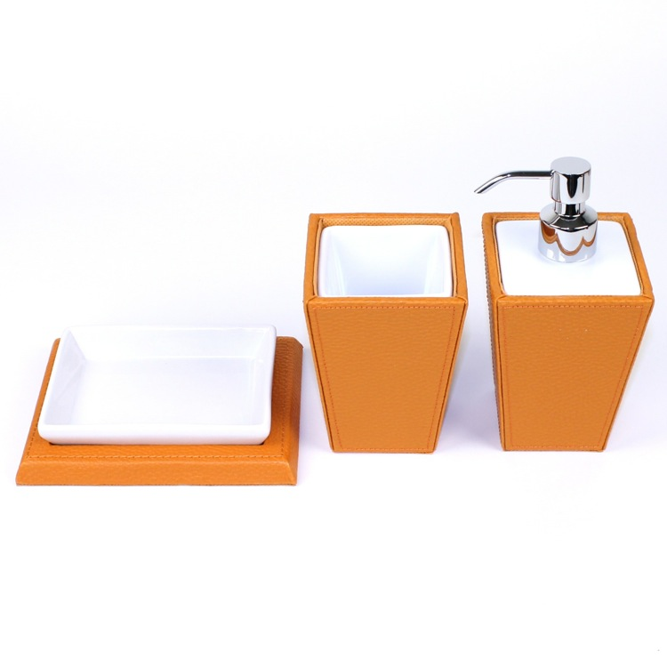 Bathroom Accessory Set, Gedy KY200-67, Kyoto Orange Faux Leather and Pottery Accessory Set