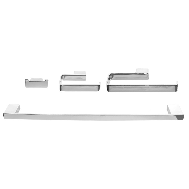 Bathroom Hardware Set, Gedy LG1100, Wall Mounted 4-Piece Square Bathroom Accessory Set in Chrome