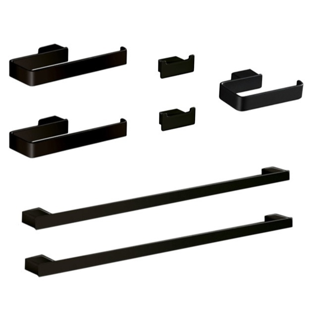 Bathroom Hardware Set, Gedy LG1200-M4, His and Hers 7 Piece Black Hardware Set