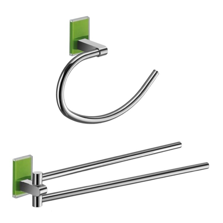 Bathroom Hardware Set, Gedy MNE1270-04, Green And Chrome Towel Ring And Swivel Towel Bar Set