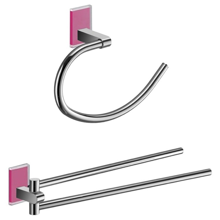 Bathroom Hardware Set, Gedy MNE1270-76, Pink And Chrome Towel Ring And Swivel Towel Bar Set
