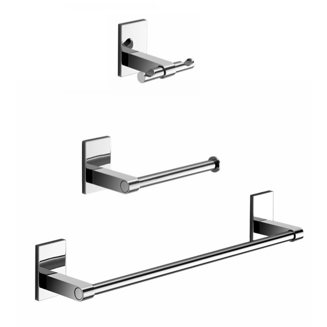 Bathroom Hardware Set, Gedy MNE321-13, Wall Mounted 3 Piece Chrome Accessory Set