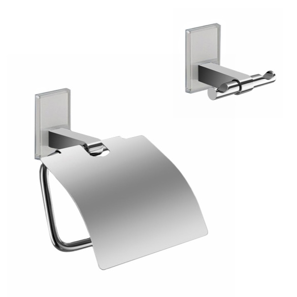 Bathroom Hardware Set, Gedy MNE325-02, White And Chrome Toilet Roll Holder And Robe Hook Accessory Set