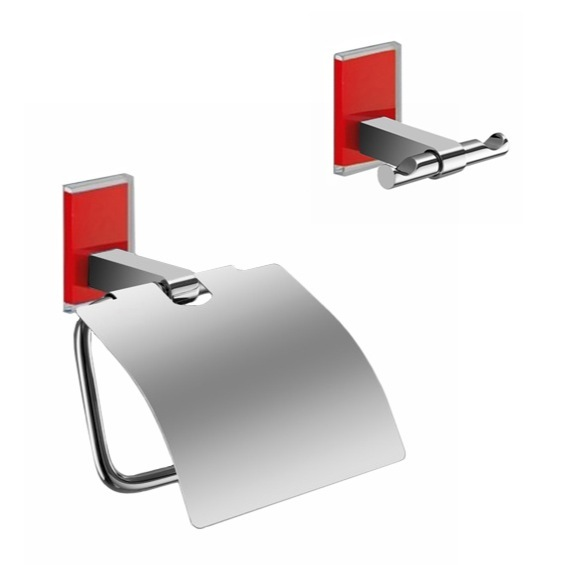 Bathroom Hardware Set, Gedy MNE325-06, Red And Chrome Toilet Roll Holder And Robe Hook Accessory Set