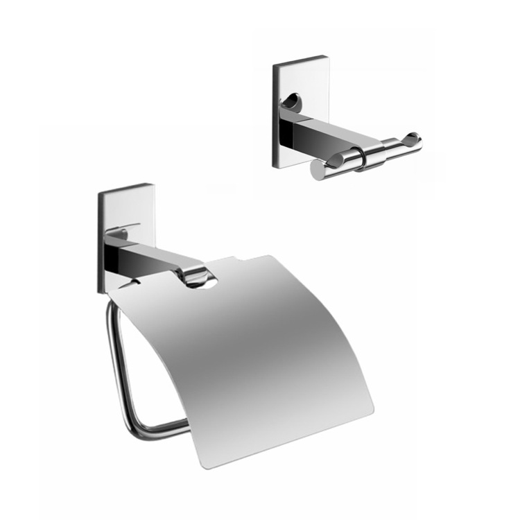 Bathroom Hardware Set, Gedy MNE325-13, Chrome Toilet Roll Holder And Towel Ring Accessory Set