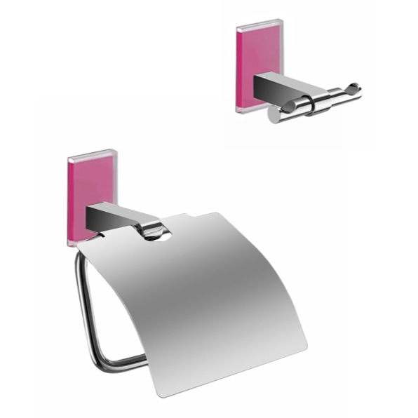 Bathroom Hardware Set, Gedy MNE325-76, Pink And Chrome Toilet Roll Holder And Robe Hook Accessory Set