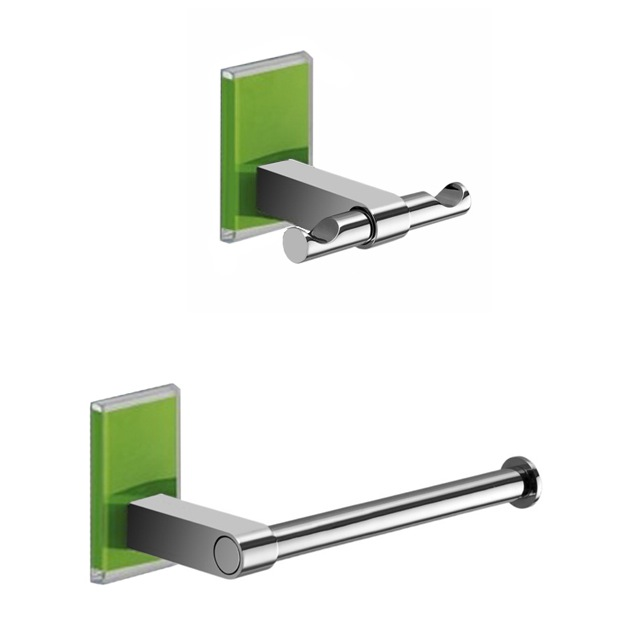 Bathroom Hardware Set, Gedy MNE326-04, Green And Chrome Toilet Roll Holder And Robe Hook Accessory Set
