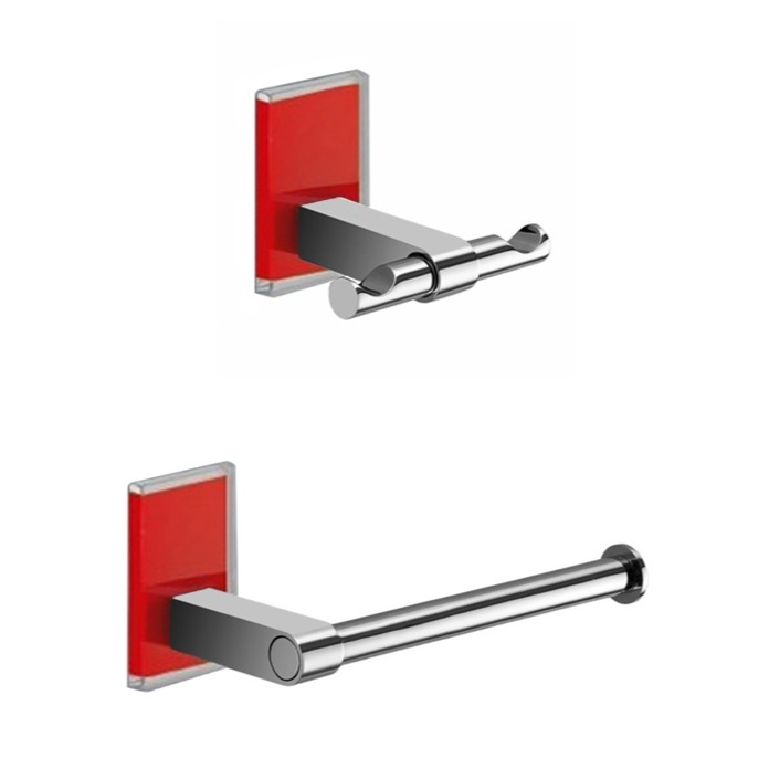 Bathroom Hardware Set, Gedy MNE326-06, Red And Chrome Toilet Roll Holder And Robe Hook Accessory Set