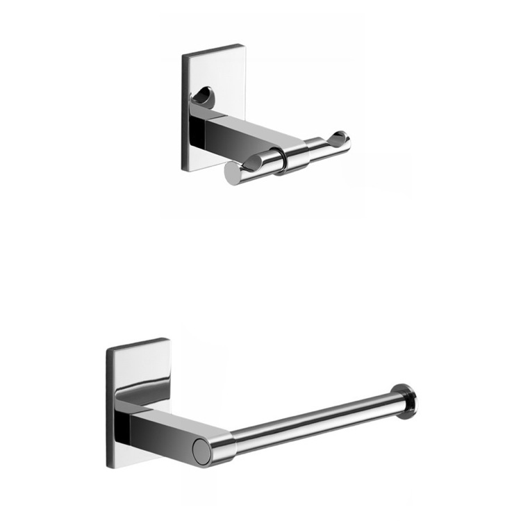Bathroom Hardware Set, Gedy MNE326-13, Chrome Toilet Roll Holder and Robe Hook Accessory Set
