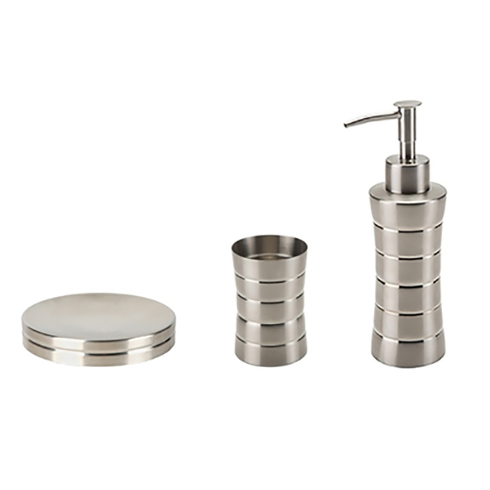 Gedy NAS By Nameeks Naos Piece Stainless Steel Accessory Set - Brushed stainless steel bathroom accessories