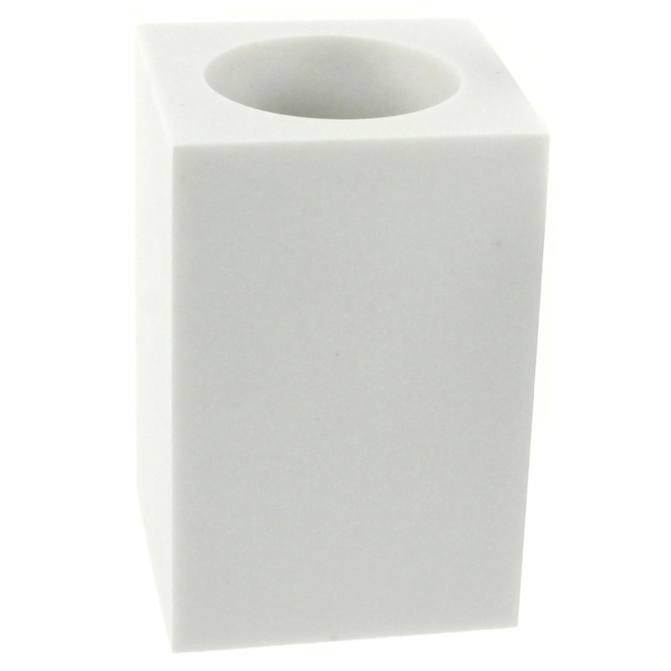 Toothbrush Holder, Gedy OL98-02, Square Free Standing Toothbrush Tumbler in White Finish