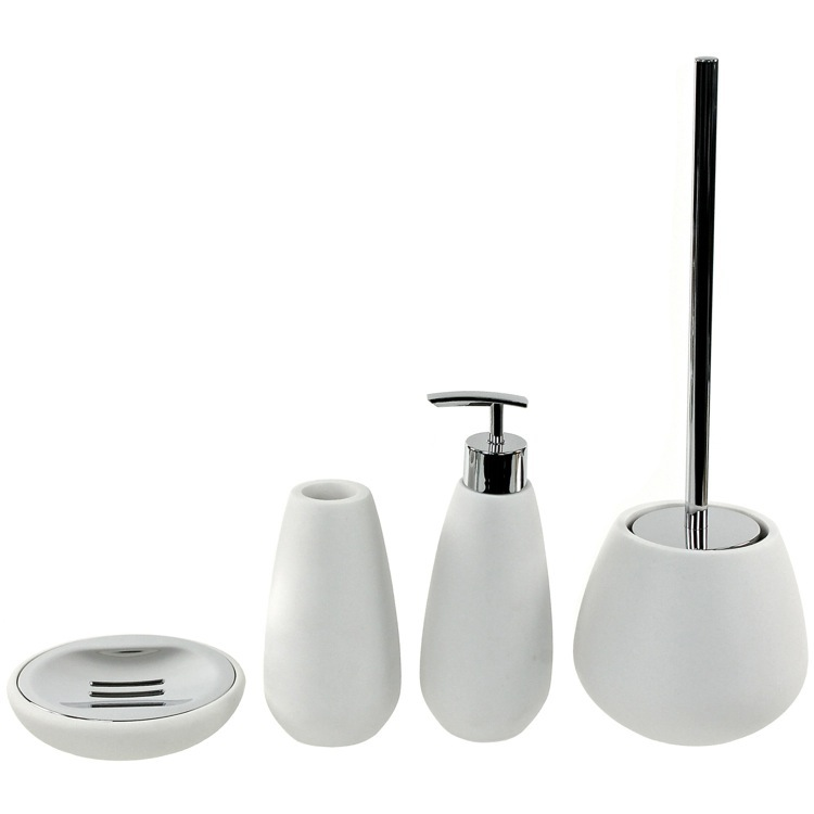 Bathroom Accessory Set, Gedy OP180-02, 4 Piece White Stone Bathroom Accessory Set Gedy