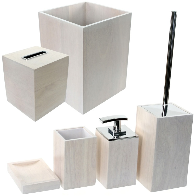 Bathroom Accessory Set, Gedy PA1181-02, Wooden 6 Piece White Bathroom Accessory Set