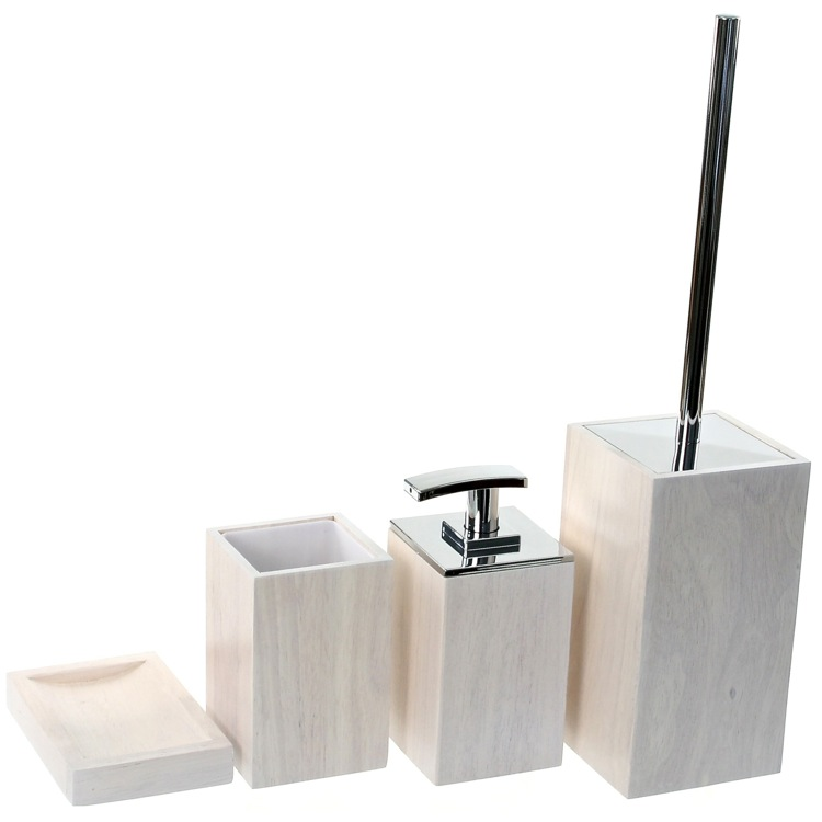 Bathroom Accessory Set, Gedy PA181-02, Wooden 4 Piece White Bathroom Accessory Set