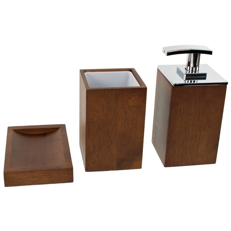 Wooden 3 Piece Brown Bathroom Accessory Set