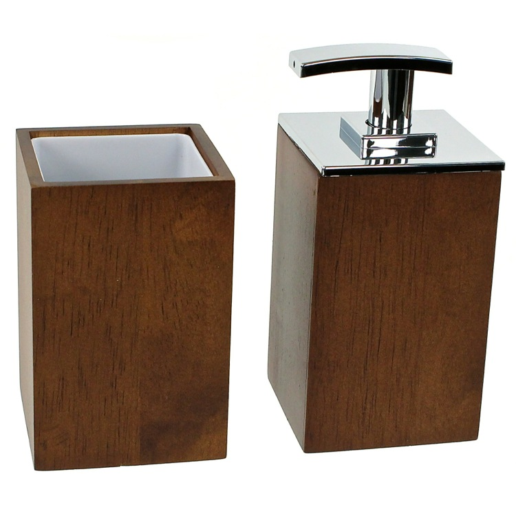 Bathroom Accessory Set, Gedy PA581-31, Wooden 2 Piece Brown Bathroom Accessory Set