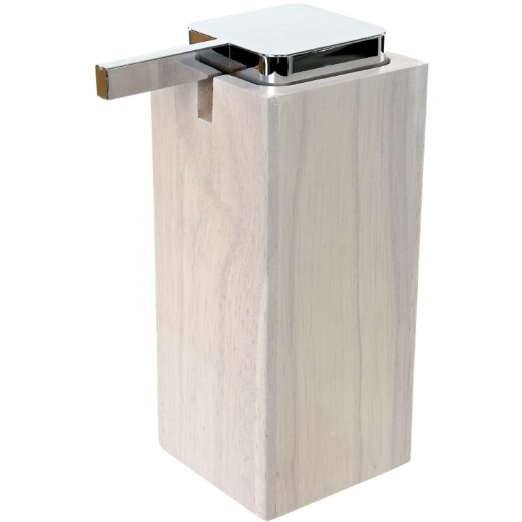 Soap Dispenser, Gedy PA80-02, White Square Tall Soap Dispenser in Wood