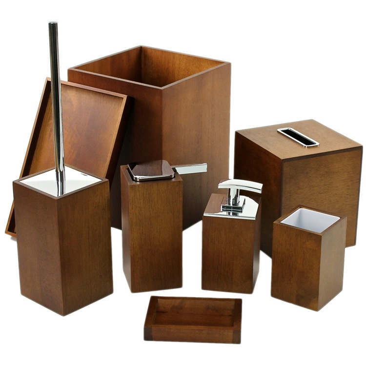 Bathroom Accessory Set Gedy Pa8001 31 Wooden 8 Piece Brown