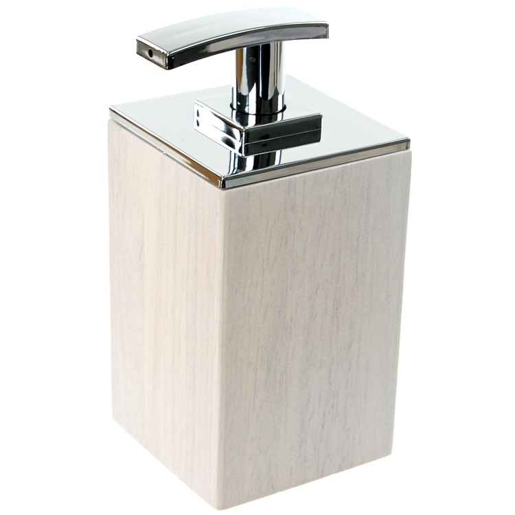 Soap Dispenser, Gedy PA81-02, White Short Soap Dispenser in Wood
