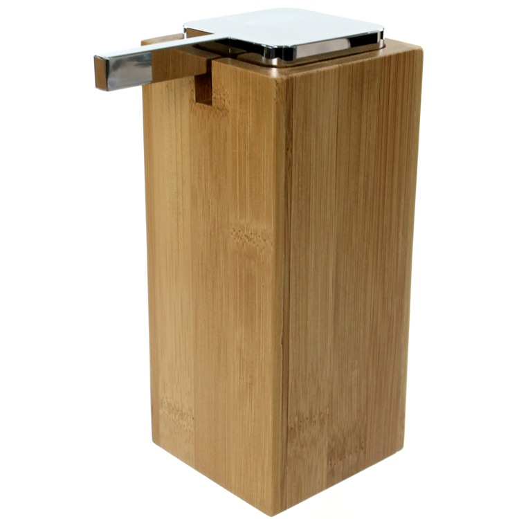 Soap Dispenser, Gedy PO80-35, Large Wood Wood Soap Dispenser with Chrome Pump