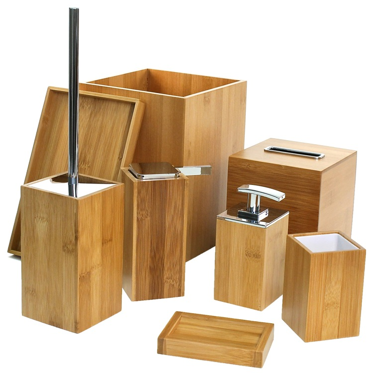 Bathroom Accessory Set, Gedy PO8001 35, Wooden 8 Piece Bamboo Bathroom  Accessory Set
