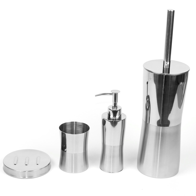 Bathroom Accessory Set, Gedy PR100, Primula Round Stainless Steel Bathroom Accessory Set