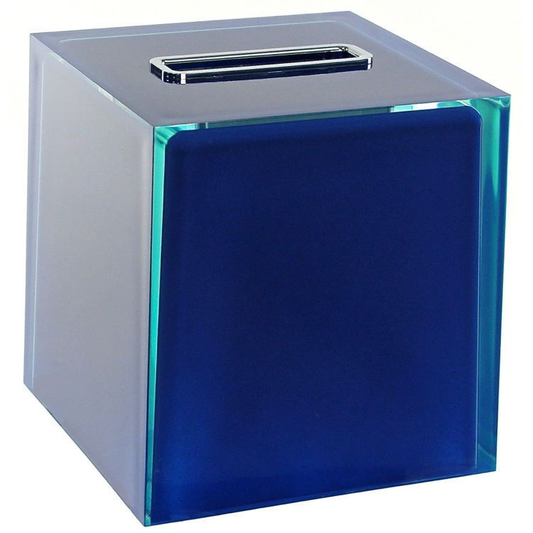 Tissue Box Cover, Gedy RA02-05, Thermoplastic Resin Square Tissue Box Cover in Blue Finish