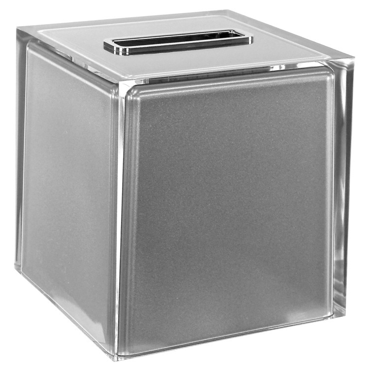 Tissue Box Cover, Gedy RA02-73, Thermoplastic Resin Square Tissue Box Cover in Silver Finish