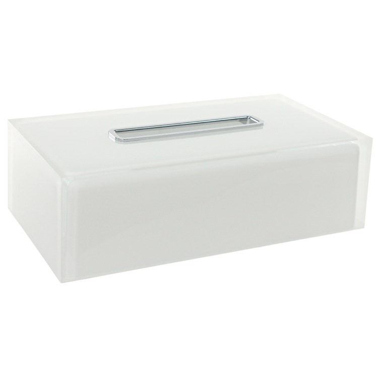 Tissue Box Cover, Gedy RA08-02, Thermoplastic Resin Rectangular Tissue Box Cover in White Finish