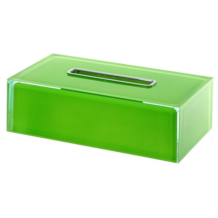 Tissue Box Cover, Gedy RA08-04, Thermoplastic Resin Rectangular Tissue Box Cover in Green Finish