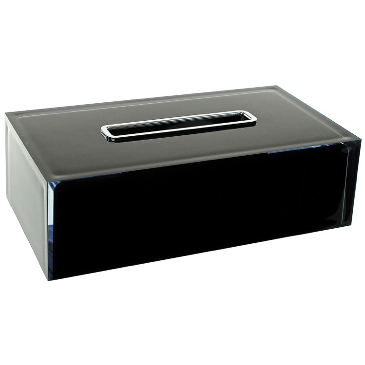 Tissue Box Cover, Gedy RA08-14, Thermoplastic Resin Rectangular Tissue Box Cover in Black Finish