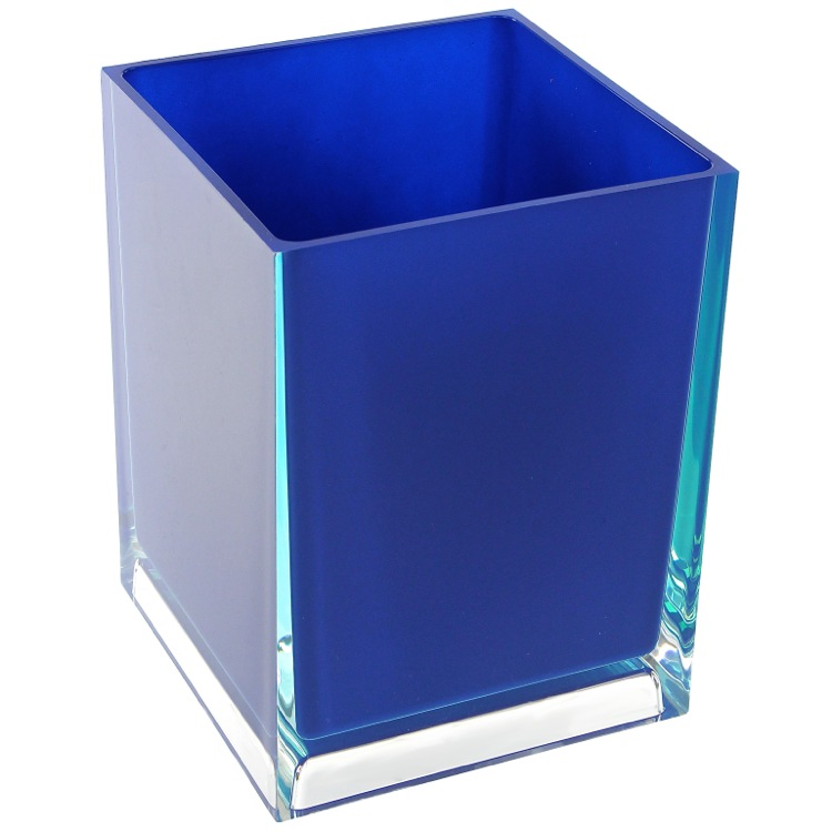 Waste Basket, Gedy RA09-05, Free Standing Waste Basket With No Cover in Blue Finish