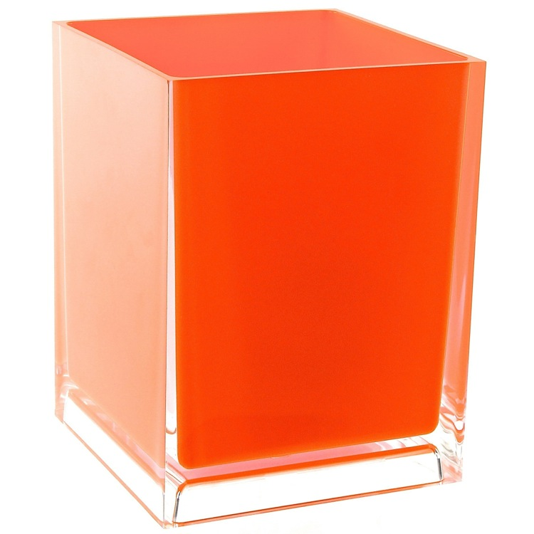 Waste Basket, Gedy RA09-67, Free Standing Waste Basket With No Cover in Orange Finish