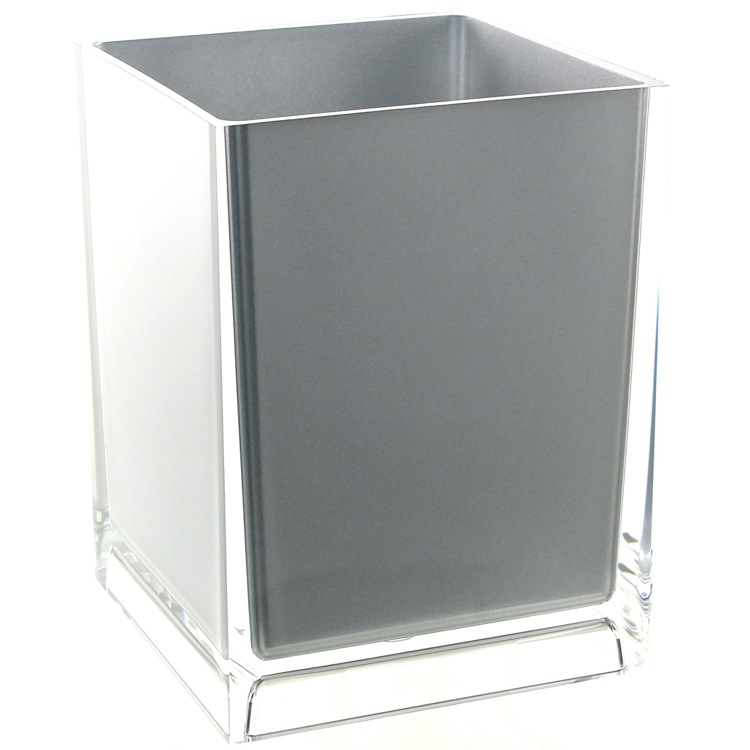 Waste Basket, Gedy RA09-73, Free Standing Waste Basket With No Cover in Silver Finish