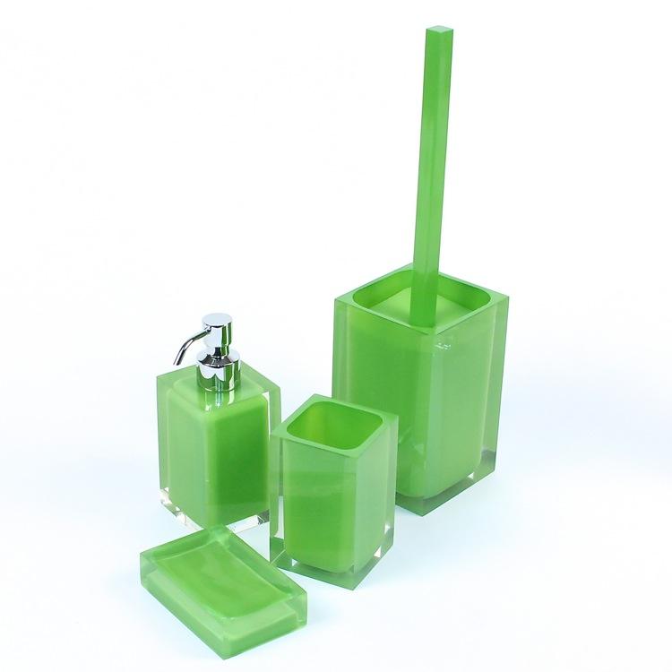 Bathroom Accessory Set, Gedy RA100-04, Green Accessory Set of Thermoplastic Resins