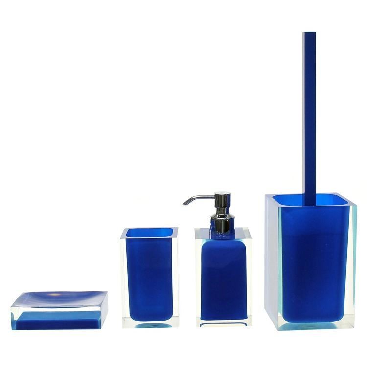 Bathroom Accessory Set, Gedy RA100-05, Blue Rainbow Accessory Set of Thermoplastic Resins