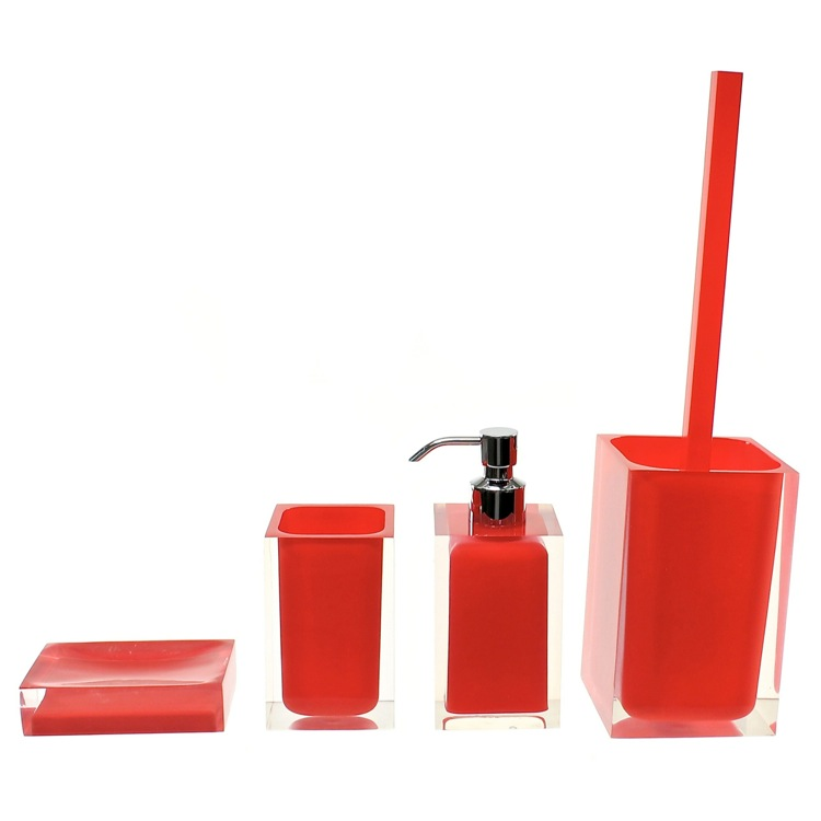 Bathroom Accessory Set, Gedy RA100-06, Red Accessory Set of Thermoplastic Resins