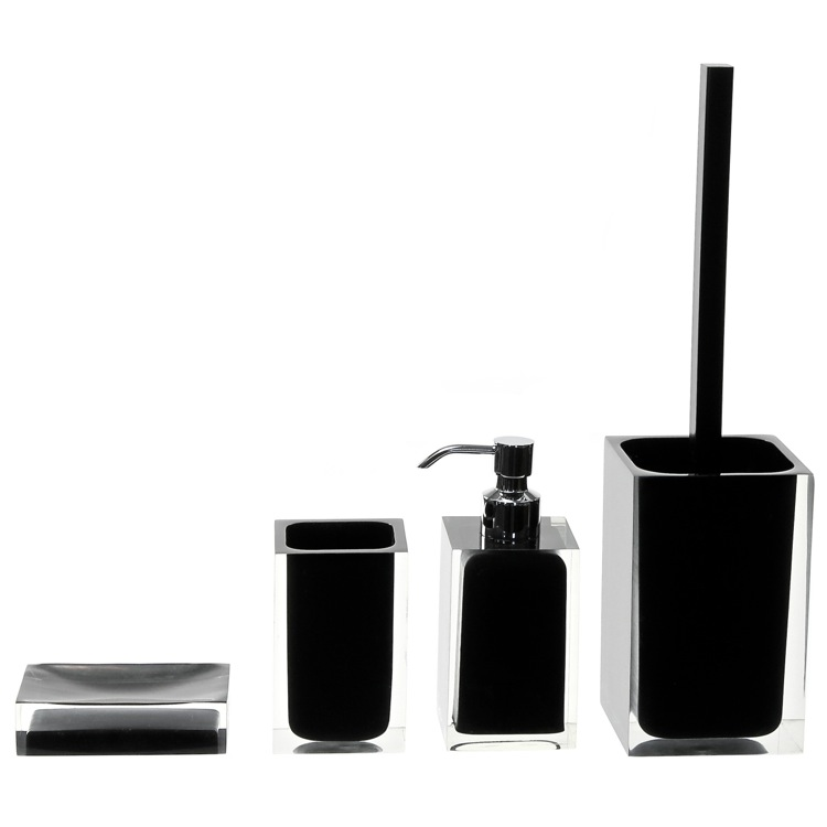 Bathroom Accessory Set, Gedy RA100-14, Accessory Set of Black Thermoplastic Resins