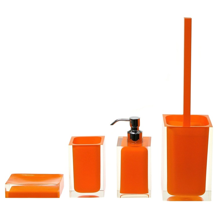 Bathroom Accessory Set, Gedy RA100-67, Orange Thermoplastic Resins Accessory Set