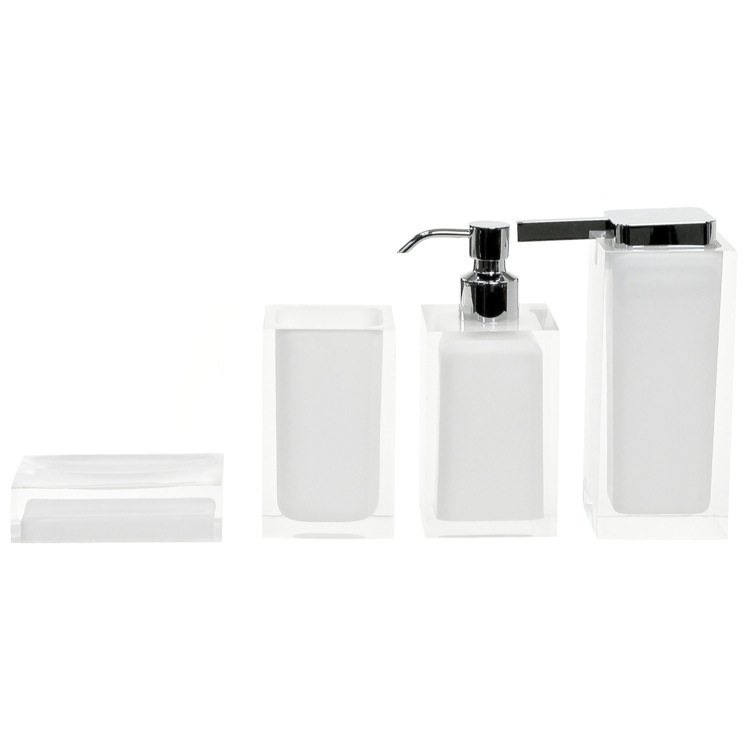 Bathroom Accessory Set, Gedy RA200-02, Rainbow White Accessory Set of Thermoplastic Resins