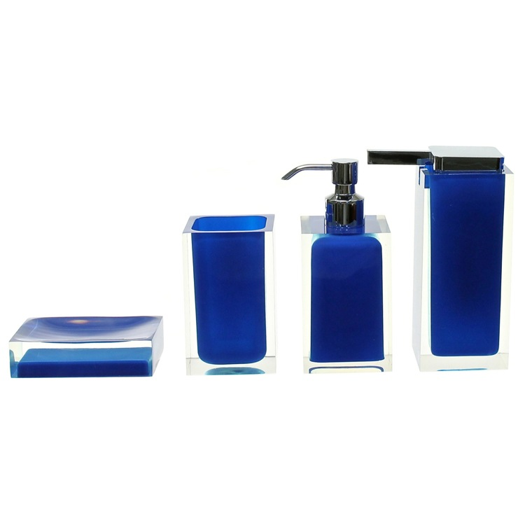 Bathroom Accessory Set, Gedy RA200-05, Blue Rainbow Accessory Set of Thermoplastic Resins