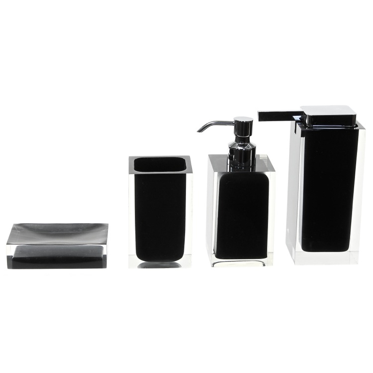 Bathroom Accessory Set, Gedy RA200-14, Black Accessory Set of Thermoplastic Resins
