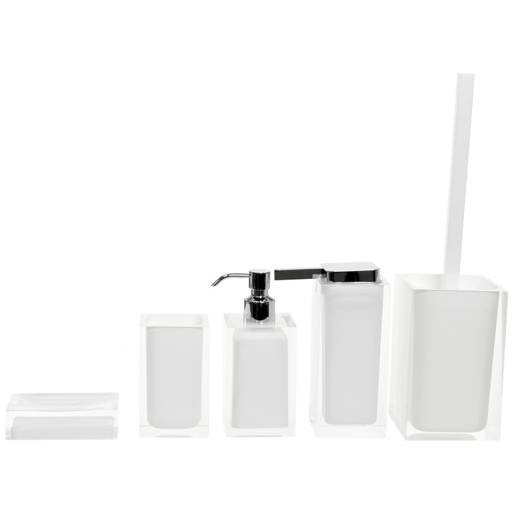 Bathroom Accessory Set, Gedy RA300-02, Rainbow White Accessory Set of Thermoplastic Resins