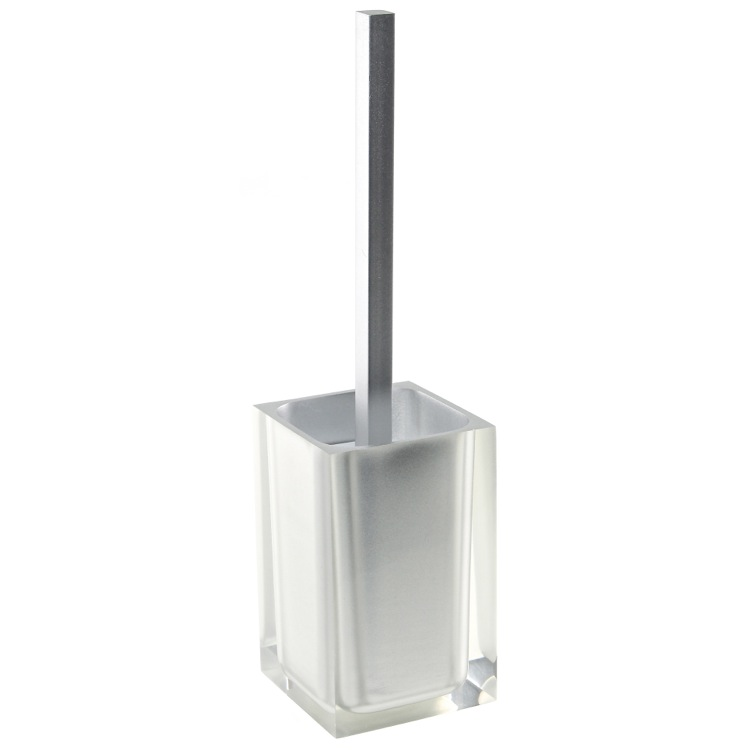 Toilet Brush, Gedy RA33-73, Unique Silver Finish Toilet Brush Holder in Thermoplastic Resins
